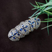 Blue Sapphire Sterling Silver Pave Diamond Armor Knuckle Ring 14k Gold Jewelry