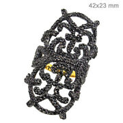 14k Gold Pave 2.9ct Diamond Filgree Ring Sterling Silver Vintage Look Jewelry Oy