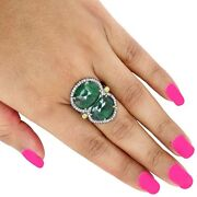 14k Gold Emerald Pave Diamond Fine Vintage Look Ring Sterling Silver Jewelry New