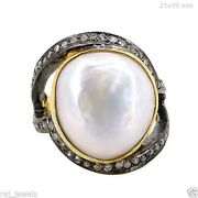 Sterling Silver Pave Diamond Antique Finish Ring 14k Gold Pearl Designer Jewelry