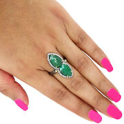 Natural Emerald 14k Yellow Gold Ring 925 Sterling Silver Pave Diamond Jewelry 7and039