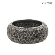 Natural Diamond Pave Band Ring Handmade Vintage Look 925 Sterling Silver Jewelry