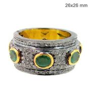 Emerald Gemstone Pave Diamond 925 Sterling Silver Antique Look Band Ring Jewelry