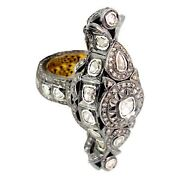 Rose Cut Diamond 925 Sterling Silver 14k Gold Vintage Look Ring Jewelry Cy