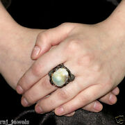 Pearl Pave 1ct Diamond Ring 14k Gold 925 Sterling Silver Antique Look Jewelry 7and039