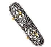 Natural Diamond Pave 14k Gold Knuckle Finger Ring .925 Sterling Silver Jewelry