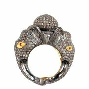 4.75 Ct Diamond Pave Elephant Dome Ring Sterling Silver Antique Inspired Jewelry