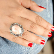 Gifts Real Pave Diamond Coral Gemstone Ring Handmade 925 Sterling Silver Jewelry