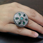 Sterling Silver Pave Diamond Cocktail Ring Antique Look Gemstone Emerald Jewelry