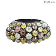 Multi Color Diamond Proposal Dome Ring Vintage Style Sterling Silver Jewelry Py