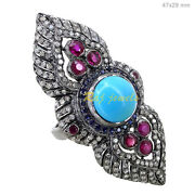 Sterling Silver Gemstone Ring Diamond Pave Antique Look Turquoise Ruby Jewelry 7