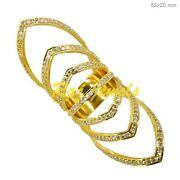 14k Yellow Gold 1.39ct Pave Diamond Vintage Look Armor Knuckle Ring Fine Jewelry