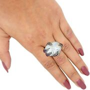 Pave Diamond Ruby Real Baraque Pearl Ring Sterling Silver Vintage Style Jewelry