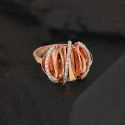 Solid 14k Rose Gold Wavy Ring Pave Natural Diamond Women Jewelry New Collection