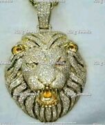 Solid 14k Yellow Gold Fn 4.00 Ct Round Cut Diamond Extra Large Lion Head Pendant