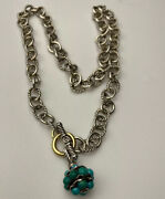 Vintage David Yurman Silver And 18k Yellow Gold Link Necklace W/ Turquoise Charm
