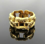 Vintage 18k Yellow Gold Hammer Finished Buckle Band Size 6.5