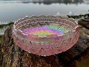 Vintage Cupped Bowl In Diamond Lace Pink Carnival By Imperial Glass Ohio 7 1/2w