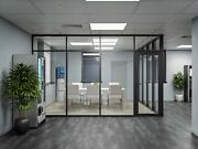 Cgp Glass Aluminum 2 Wall Office Partition System W/door 10and039x6and039x9and039 Black