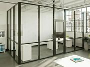 Cgp Glass Aluminum 2 Wall Office Partition System W/door 11and039x6and039x9and039 Black