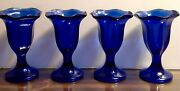 Cobalt Blue Footed And Scalloped Heavy Dessert Glassware Set Of Four