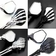 Us Motorcycle Bike Chrome Rearview Mirrors Skull Hand Claw For Harley Davidson