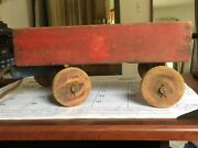 Wooden Pull Toy Vintage Wood Wagon 20th Century Red/blue