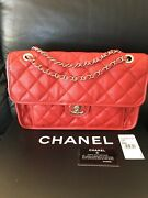 100 Authentic Classic Flap Jumbo French Riviera Red Caviar Shoulder Bag