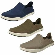 Mens Cloud Steppers By Clarks Canvas Slip On Shoes And039step Isle Rowand039
