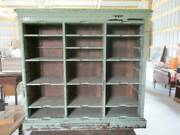 Antique Wood Primitive Postal Cupboard Cabinet Pull Out Board Detailing