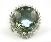 Huge Pear Green Amethyst And Diamond Halo Solitaire Ring 14k White Gold 19.00ct
