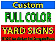 100 Full Color 18x24 2 Sided Political Real Estate Yard Signs W/ Stakes