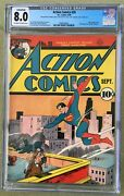 Action Comics 28 1940 Cgc 8.0 -- O/w To White Pgs Jerry Seigel - Conserved