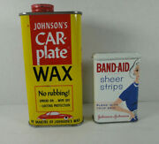 Vintage 1950s - 60's Highly Collectible Band-aid Tin And Car Wax Tin Lot Of 2