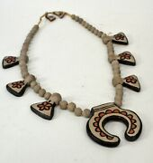 Rare Antique Santo Domingo Clay Squash Blossom Necklace With Earrings C. 1920-30