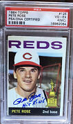 Pete Rose Autograph Signed 1964 Topps 2nd Year Baseball Card Reds Psa