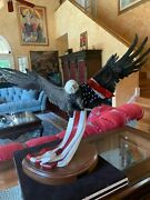 Bronze Bald Eagle With Flag By Bill Girard Listed Artist Titled Oland039e Glory