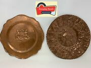 2 Vintage Copper Wall Plates Hanging Collectible Antique