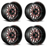 4x Fuel 20 Stroke D612 Wheels Gloss Red Milled 20x12 8x170 -43mm Offset 4.75bs