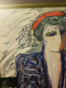 Red Hat - Blue Scarf - Barbara A. Wood Signed Numbered 259/975 Limited Ed Print