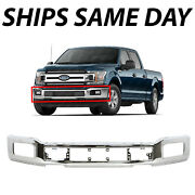 New Chrome - Steel Front Bumper Face Bar For 2018-2020 Ford F-150 W/ Fog 18-20