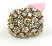 Natural Fancy Color Round Diamond Cluster Wide Ladyand039s Ring 14k Rose Gold 3.05ct