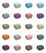 Ambesonne Modern Abstract Ottoman Cover 2 Piece Slipcover Set And Ruffle Skirt
