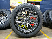 22x10 Fuel D680 Rebel Gray Wheels Rims 33 At Tires 6x135 Ford F150 Expedition