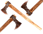 Lot Of 3 X Mdm Etch Tomahawk Combat Hatchet Engraved Axe With Ash Wood Handle