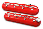 Holley 241-121 Tall Ls Dominator Valve Covers - Gloss Red Machined Finish