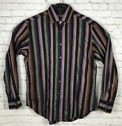 Robert Graham Limited Edition Ghostly Skull Striped Mens Large Button Down Shirt