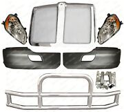 Qsc Bumper Pair Headlights Stainless Steel Deer Guard Grille For Kenworth T680