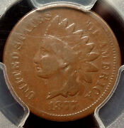 1877 Indian Cent, Key Date, Solid Good+, Pcgs Certified