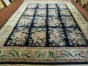 9and039 X 12and039 Hand Made Chinese Oriental Floral Garden Wool Rug 160 Lines Plush Pile